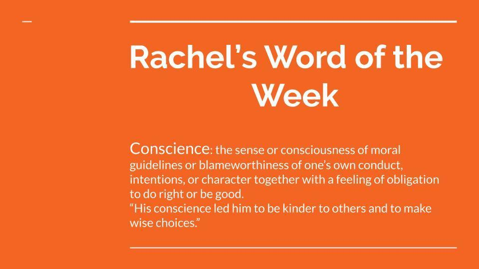 Rachel's Word of the week