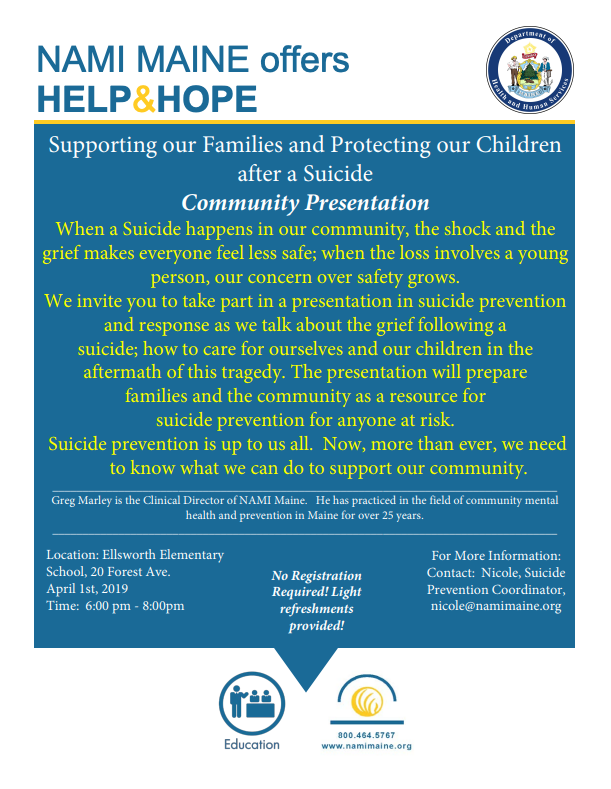 Community Presentation on suicide prevention and response